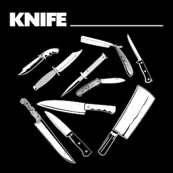 Różnorodność ilustracji noża