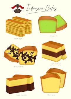 Różnorodność indonezyjskich ciast pandan cake czekoladowy i waniliowy tort szyfonowy