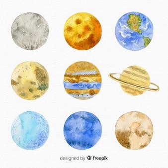 Różnorodność kolekcji planet akwarela