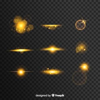 Różnorodność kolekcji złotych efektów świetlnych