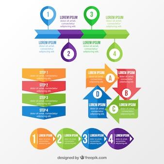 Różnorodność kolorowych elementów dla infografiki