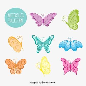 Różnorodność kolorowych motyli ręcznie rysowane