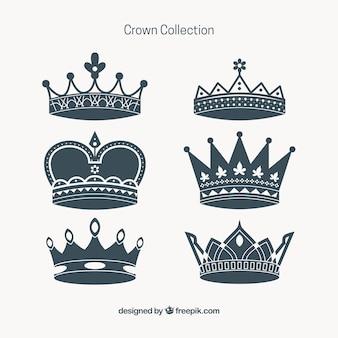 Różnorodność koron dekoracyjnych w płaskiej obudowie