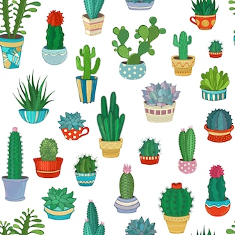Różnorodność kreskówek kaktusów z kolcami
