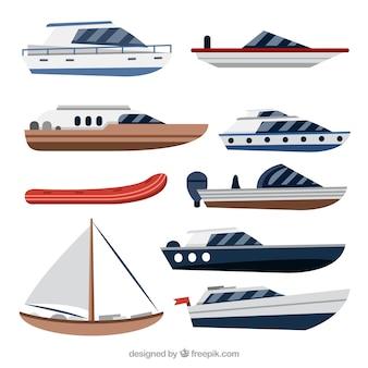 Różnorodność łodzi w płaskim stylu