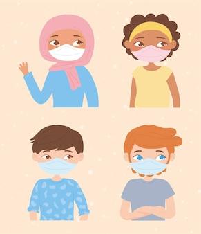 Różnorodność młodych ludzi noszących maski na twarz w celu ochrony przed wirusami