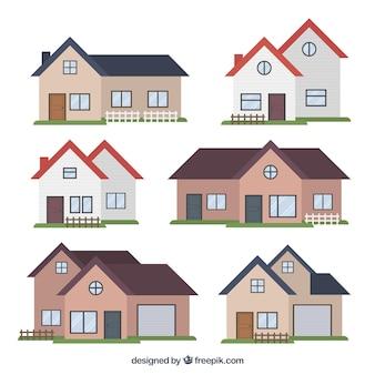 Różnorodność nowoczesnych domów w płaskiej konstrukcji