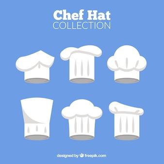 Różnorodność płaskich kapeluszy kucharzy