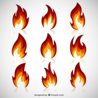 Różnorodność płomieni ognia