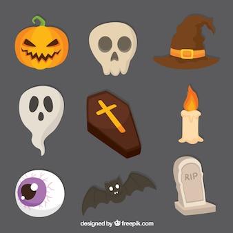 Różnorodność przerażających przedmiotów na halloween