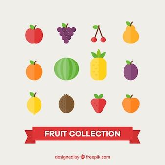 Różnorodność pysznych owoców w płaskim stylu