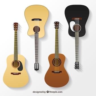 Różnorodność realistycznych gitar akustycznych