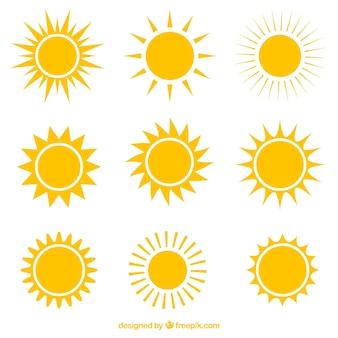 Różnorodność słońc ikon