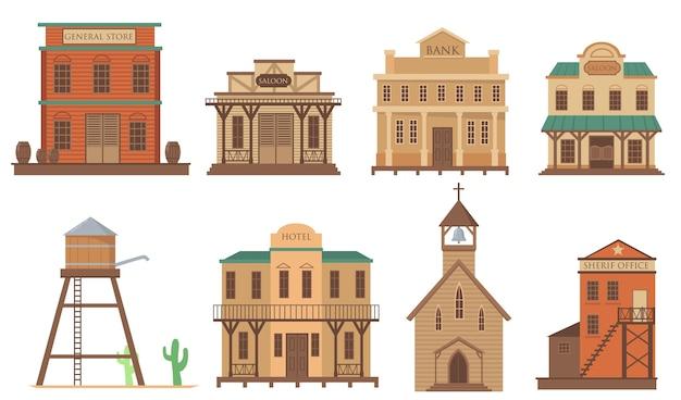 Różnorodność starych domów dla płaskiego zestawu przedmiotów z zachodniego miasta. kreskówka tradycyjne dzikie zachodnie drewniane budynki na białym tle kolekcja ilustracji wektorowych. koncepcja architektury i zakwaterowania