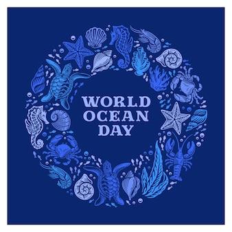 Różnorodność stworzeń morskich doodle ręcznie rysowane światowy dzień oceanu