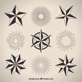 Różnorodność sunburst i gwiazd