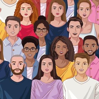 Różnorodność tłumu osób
