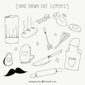 Różnorodność wielkich ręcznie rysowanych przedmiotów kucharzy