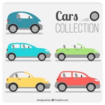 Różnorodność współczesnych samochodów w płaskiej konstrukcji