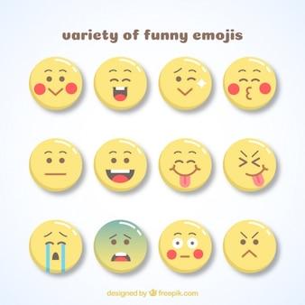 Różnorodność zabawne emotikony w płaskiej konstrukcji