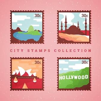 Różnorodność znaczków miasta