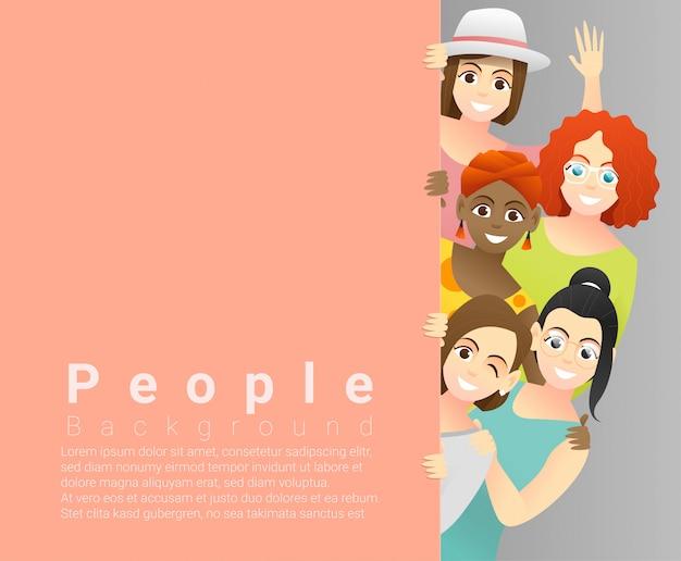 Różnorodności pojęcia tło, grupa szczęśliwe wielo- etniczne kobiety stoi za pustą deską