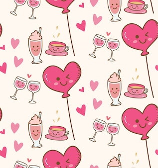 Różnorodny napój z różowym serce balonem w kawaii tle