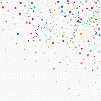 Różnorodny serpentyn błyszczący wektor panoramiczny przezroczyste tło. spadający szablon spirali. zaproszenie na karnawał gwiazda. kolorowe rocznica oddziału.