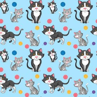 Różny kot na bezszwowym wzorze