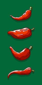 Różny kształt czerwonego chili pieprze ilustracyjni