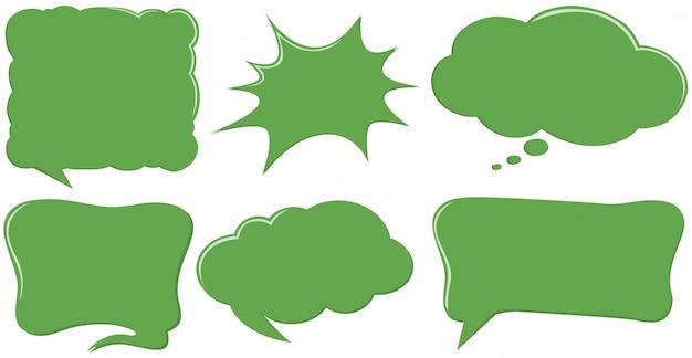 Różny projekt szablonów dymka w kolorze zielonym