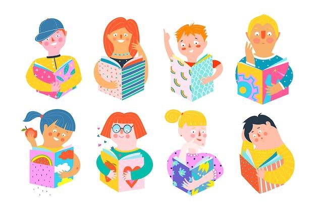 Różnych abstrakcyjnych ludzi czytających książki szczęśliwy uśmiechnięty. kolorowe pop-artowe postacie mężczyzn i kobiet kreskówek ręcznie rysowane w nowoczesnym stylu wycinanym z papieru.