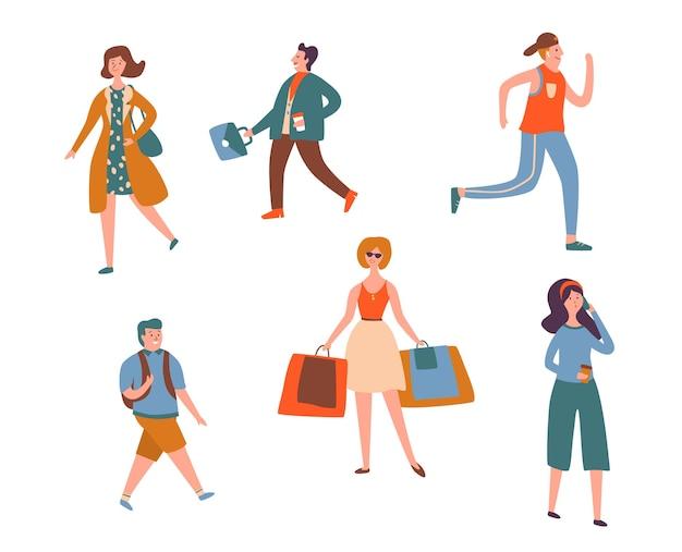 Różnych ludzi charakter spacer na białym tle zestaw. miejski jogging, rozmawiający smartfon i zakupy