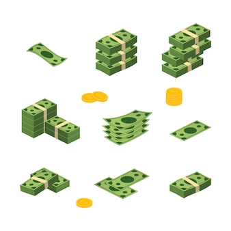 Różnych pieniędzy rachunki dolar gotówki papier banknoty wektor zestaw. kupa pieniędzy