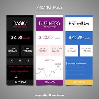 Różnych tabel cenowa internetowej