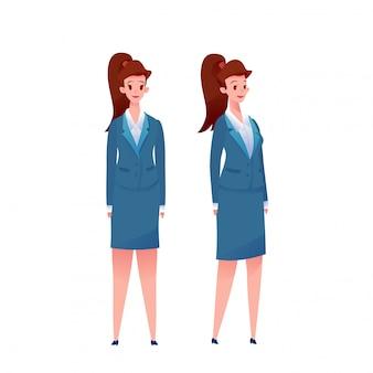 Rozochocona biznesowa kobieta w kostiumu secie. pracownik biurowy. śliczna dziewczyny sekretarki pozycja z uśmiechem.