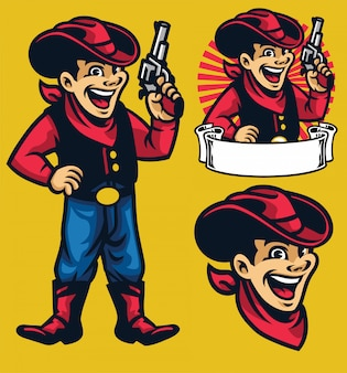 Rozochocona młoda kowbojska maskotka