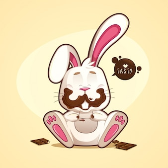 Rozochocony i śmieszny brudny czekoladowy królik z czekoladami