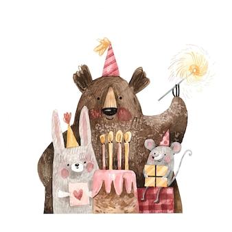 Rozochocony miś, mysz i królik w świątecznych nakrętkach z tortem i prezentami, życzymy wszystkiego najlepszego z okazji urodzin ilustraci odizolowywającej na białym tle. akwarela ilustracja znaków słodkie przyjęcie urodzinowe