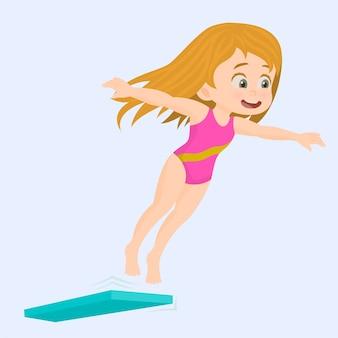 Rozochocony szczęśliwy dziewczyny doskakiwanie w basen