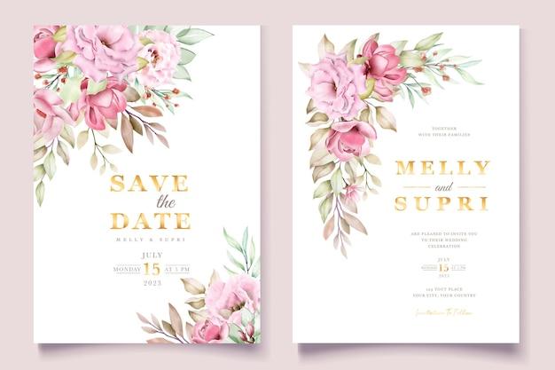 Różowa akwarela karta kwiatowy