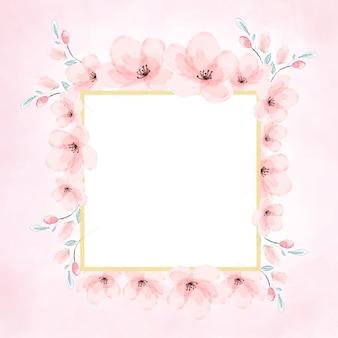Różowa akwarela kwiat wiśni złotej ramie