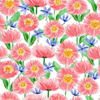 Różowa angielska stokrotka akwarela kwiatowy wzór