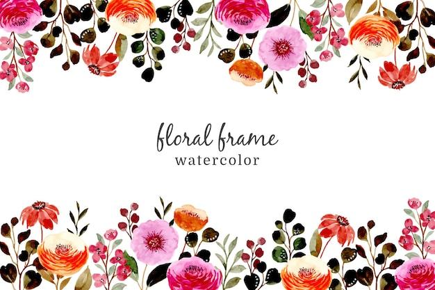 Różowa Brązowa Rama Kwiatowy Z Akwarelą Premium Wektorów