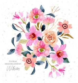 Różowa brzoskwinia akwarela kwiatowy układ ogrodowy