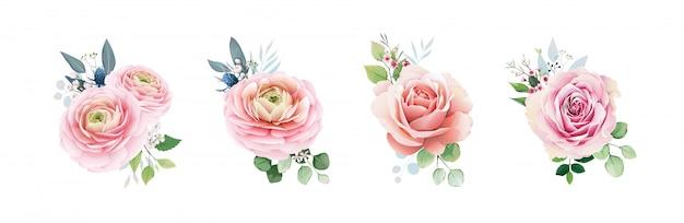 Różowa brzoskwinia zestaw róż z zielenią.