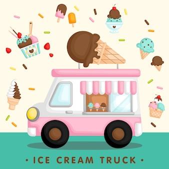 Różowa ciężarówka z lodami