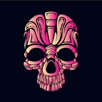 Różowa czaszka ilustracja
