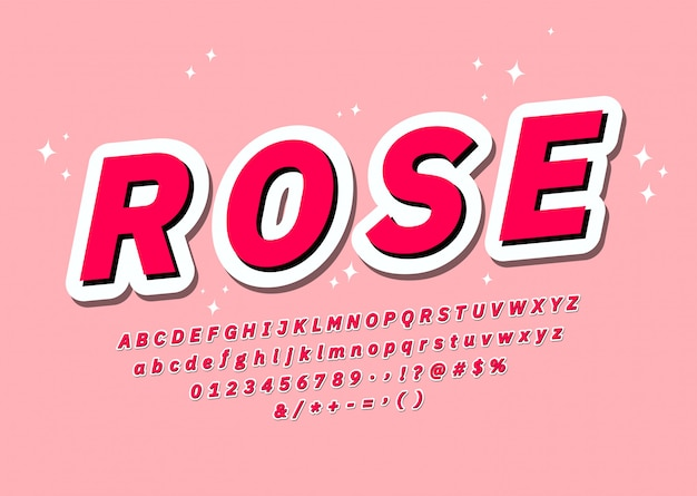 Różowa czcionka z podświetleniem i cieniem fajne naklejki alfabet pop 3d typografia młodzieżowa czcionka efekt wektor