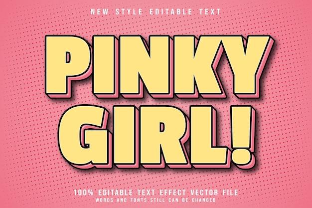 Różowa dziewczyna z edytowalnym efektem tekstowym w stylu komiksowym